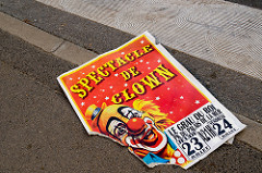 "Poster in the street says ""Spectacle de Clown"""
